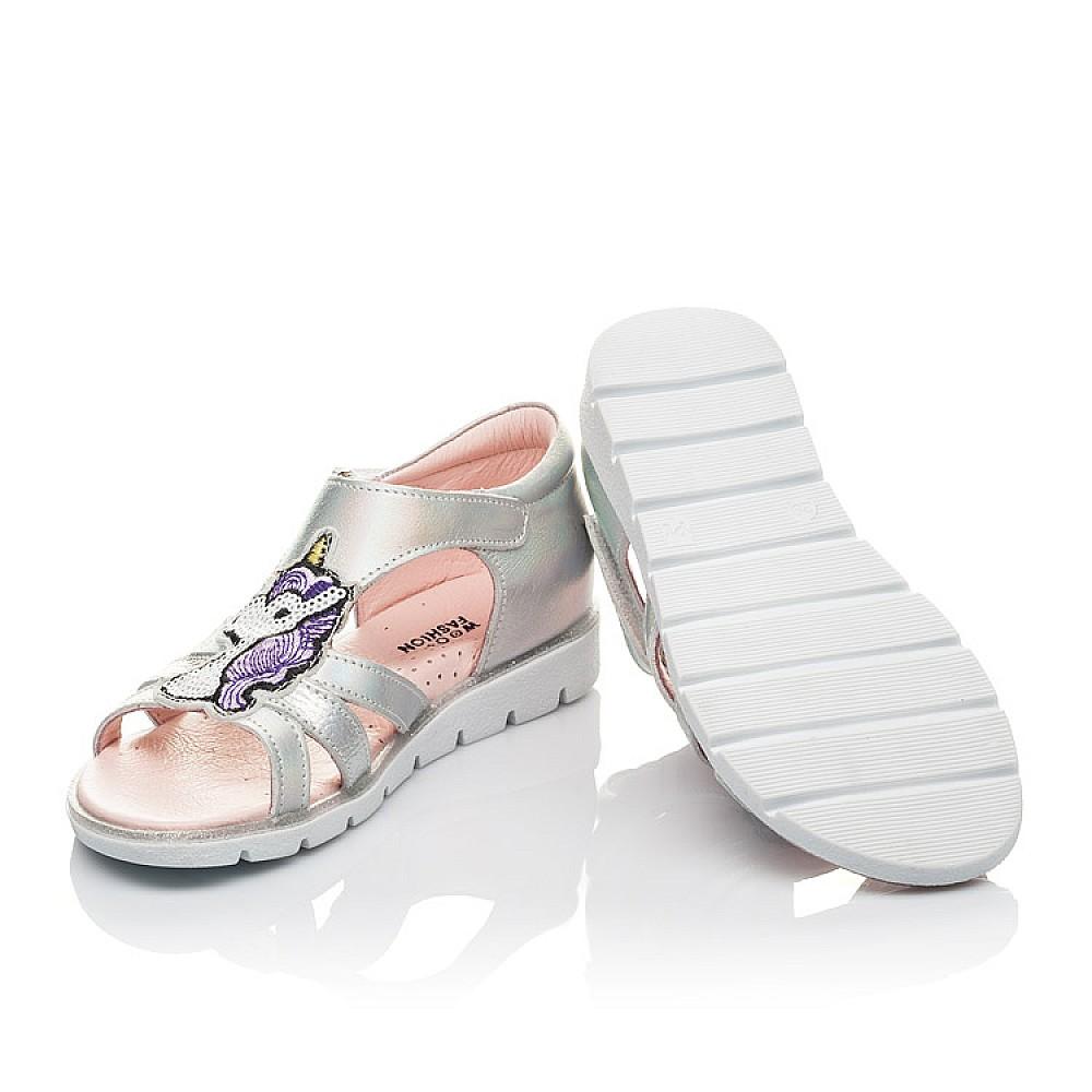 Детские босоножки Woopy Orthopedic серебряные для девочек натуральная кожа размер 29-36 (4218) Фото 2