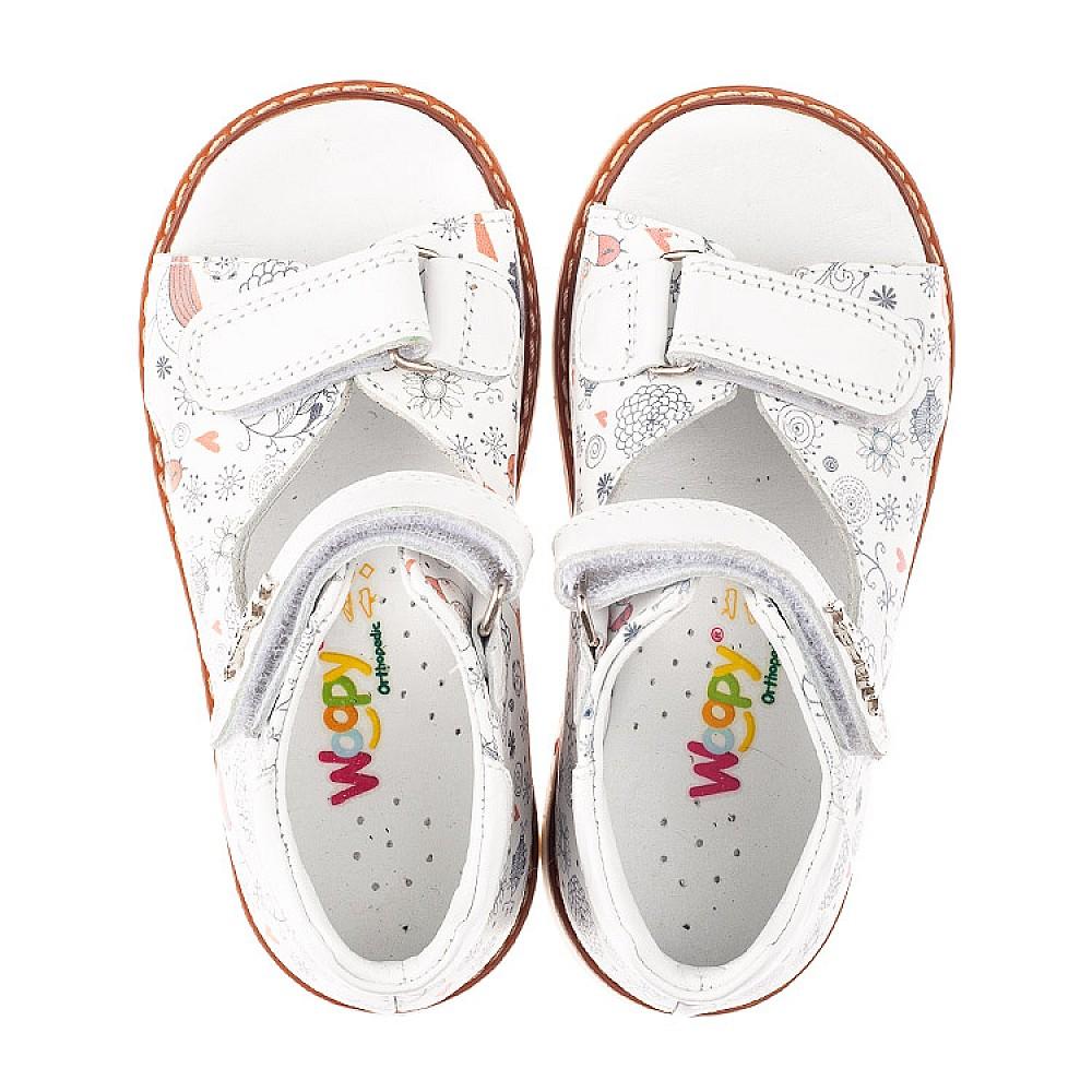 Детские босоножки Woopy Orthopedic белые для девочек натуральная кожа размер 18-25 (4219) Фото 5