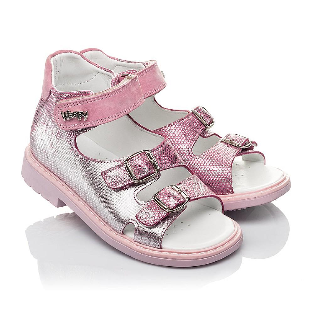 Детские босоножки Woopy Orthopedic розовые для девочек натуральная кожа размер 26-30 (4222) Фото 1