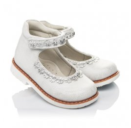 Детские туфли Woopy Orthopedic серебряные для девочек натуральная кожа размер 21-24 (4226) Фото 1