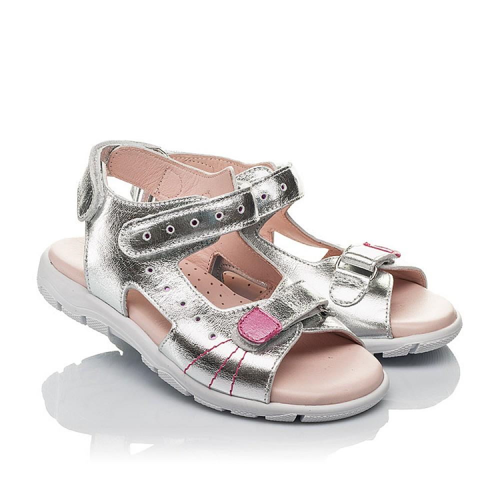 Детские босоножки Woopy Orthopedic серебряные для девочек натуральная кожа размер 26-38 (4227) Фото 1