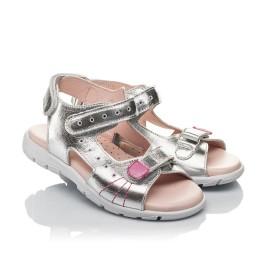 Детские босоножки Woopy Orthopedic серебряные для девочек натуральная кожа размер 26-37 (4227) Фото 1