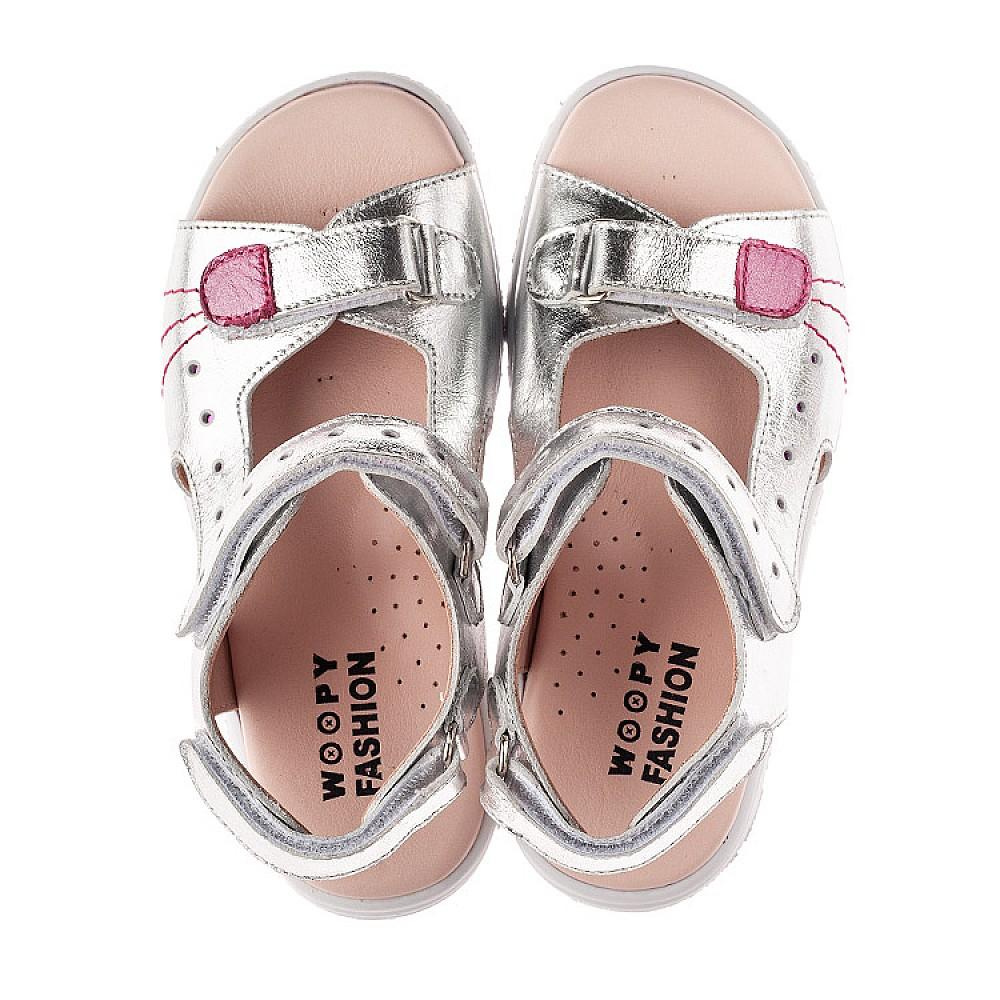Детские босоножки Woopy Orthopedic серебряные для девочек натуральная кожа размер 26-38 (4227) Фото 5