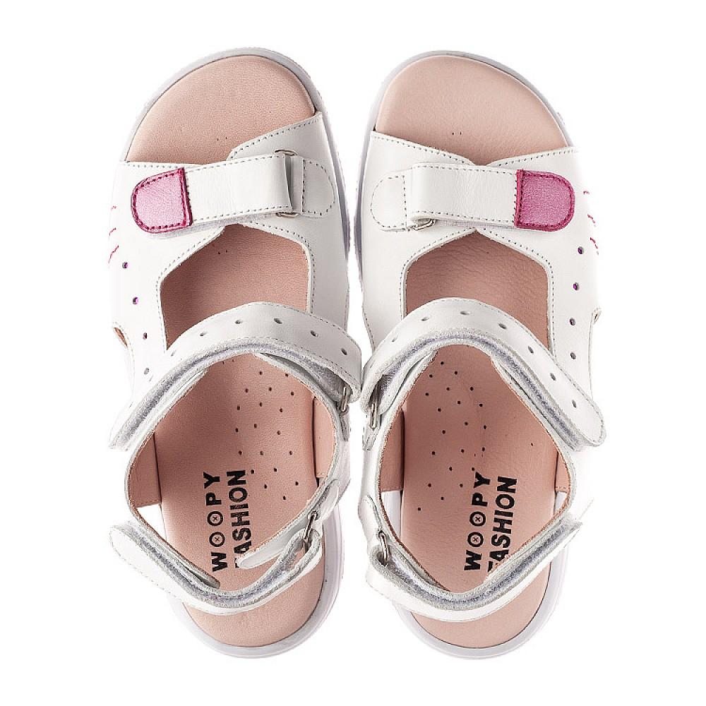 Детские босоножки Woopy Orthopedic белые для девочек натуральная кожа размер 21-38 (4228) Фото 5