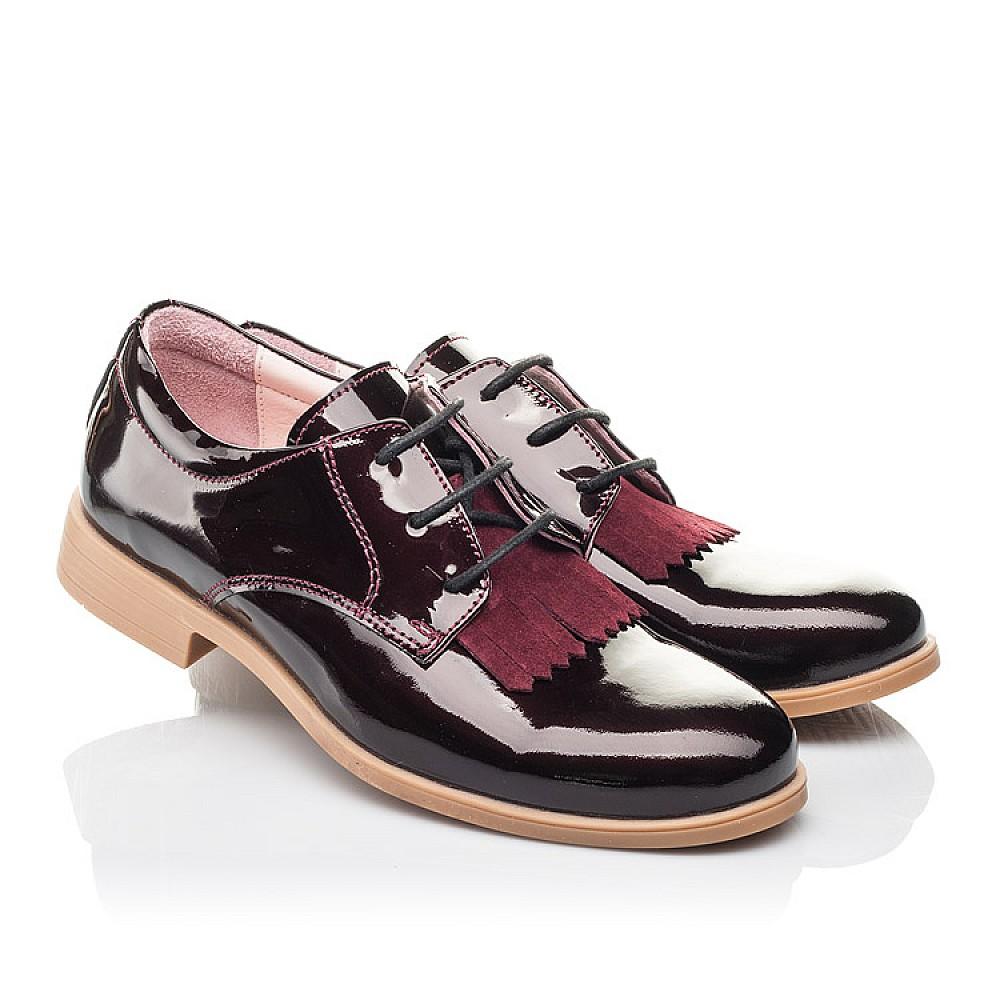 Детские туфли Woopy Orthopedic бордовые для девочек натуральная лаковая кожа размер 33-40 (4230) Фото 1