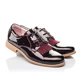 Детские туфли (шнурок резинка) Woopy Orthopedic бордовые для девочек натуральная лаковая кожа размер 33-40 (4230) Фото 1