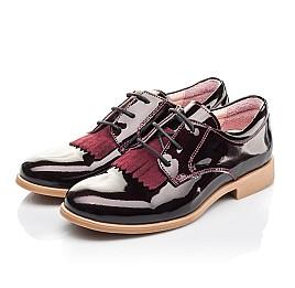 Детские туфли (шнурок резинка) Woopy Orthopedic бордовые для девочек натуральная лаковая кожа размер 33-40 (4230) Фото 3