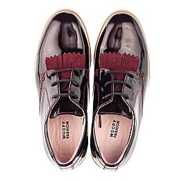 Детские туфли (шнурок резинка) Woopy Orthopedic бордовые для девочек натуральная лаковая кожа размер 33-40 (4230) Фото 5