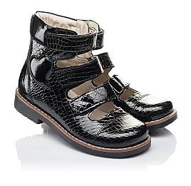Детские ортопедические туфли (с высоким берцем) Woopy Orthopedic черные для девочек натуральная лаковая кожа размер 34-36 (4231) Фото 1