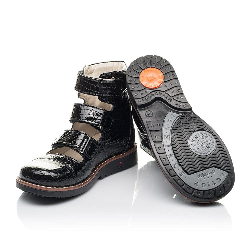 Детские ортопедические туфли (с высоким берцем) Woopy Orthopedic черные для девочек натуральная лаковая кожа размер 31-36 (4231) Фото 2