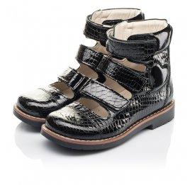 Детские ортопедические туфли (с высоким берцем) Woopy Orthopedic черные для девочек натуральная лаковая кожа размер 31-36 (4231) Фото 3