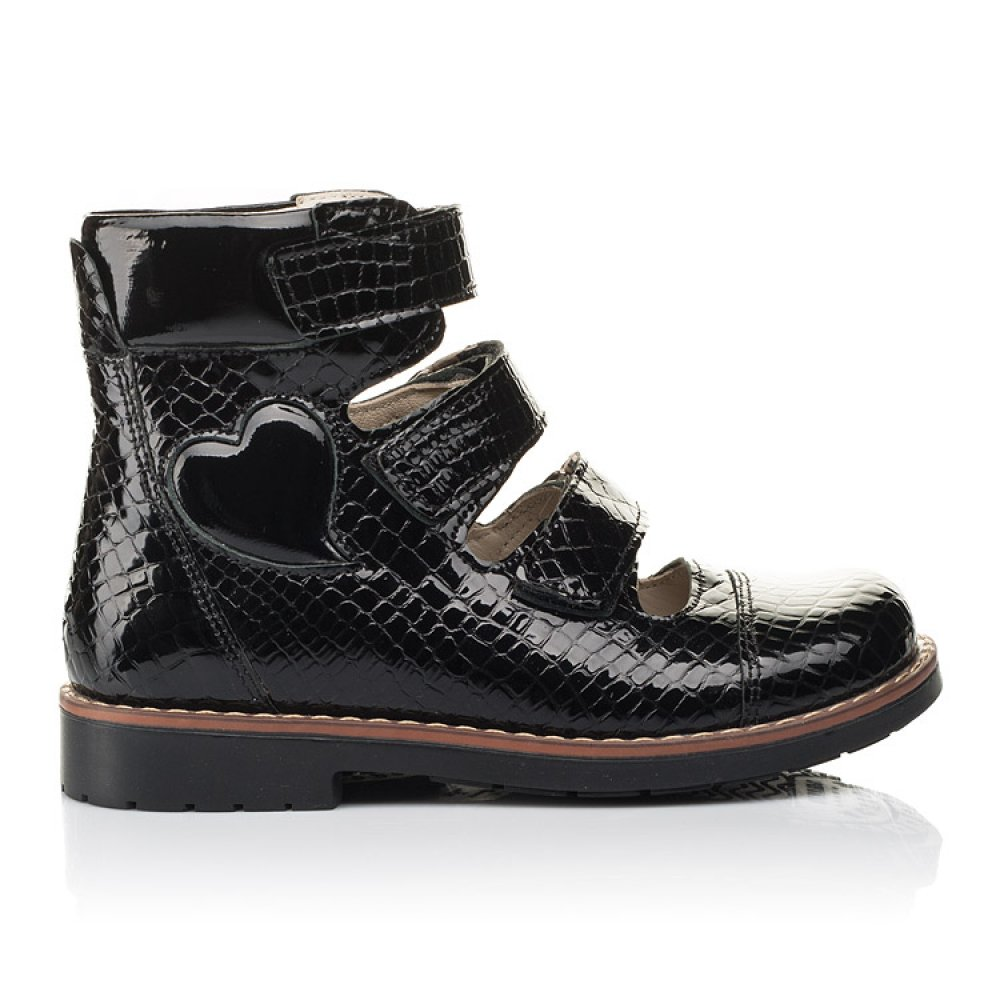 Детские ортопедические туфли (с высоким берцем) Woopy Orthopedic черные для девочек натуральная лаковая кожа размер 31-36 (4231) Фото 4