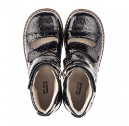 Детские ортопедические туфли (с высоким берцем) Woopy Orthopedic черные для девочек натуральная лаковая кожа размер 31-36 (4231) Фото 5