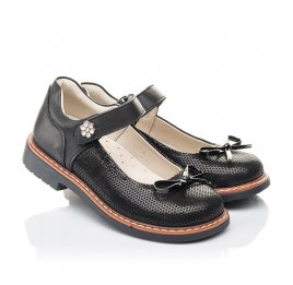 Детские туфли Woopy Orthopedic черные для девочек натуральная кожа, нубук размер 29-36 (4233) Фото 1