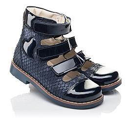 Детские ортопедические туфли (с высоким берцем) Woopy Orthopedic синие для девочек натуральный нубук размер 35-36 (4237) Фото 1