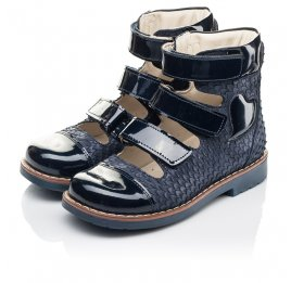 Детские ортопедические туфли (с высоким берцем) Woopy Orthopedic синие для девочек натуральный нубук размер 35-36 (4237) Фото 3