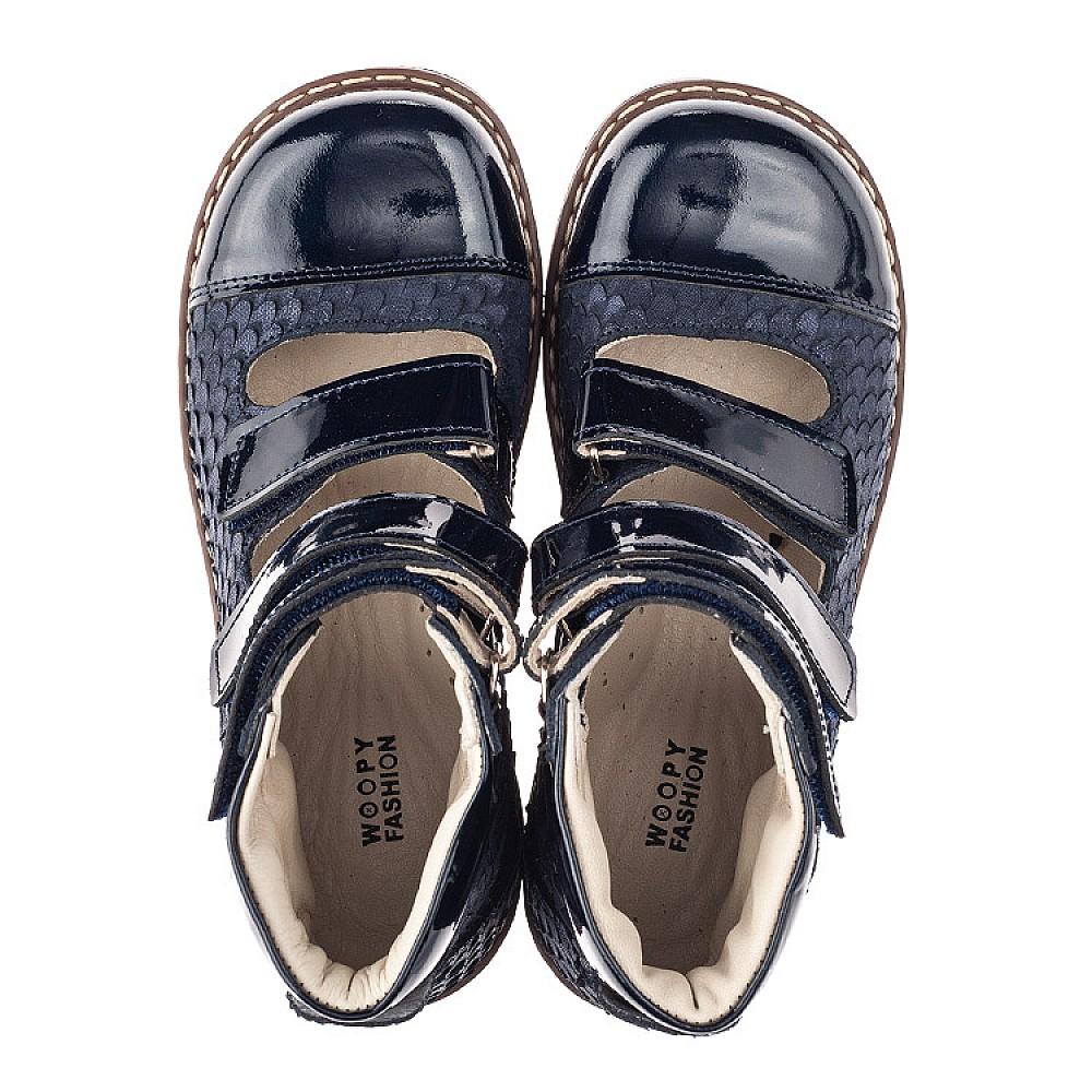Детские ортопедические туфли (с высоким берцем) Woopy Orthopedic синие для девочек натуральный нубук размер 31-36 (4237) Фото 5