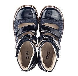 Детские ортопедические туфли (с высоким берцем) Woopy Orthopedic синие для девочек натуральный нубук размер 35-36 (4237) Фото 5