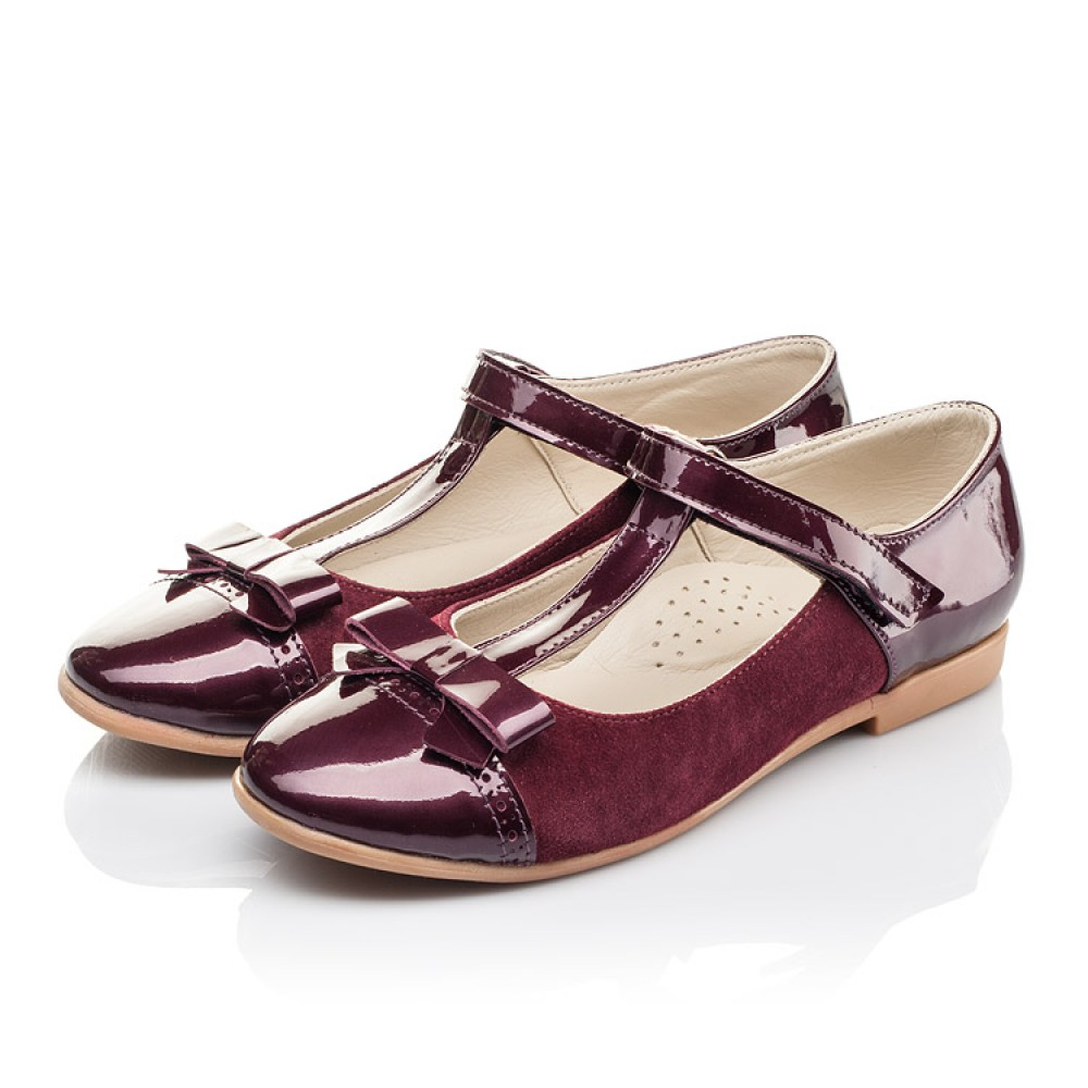 Детские туфли Woopy Orthopedic бордовые для девочек лаковая кожа, замша размер 31-38 (4240) Фото 3