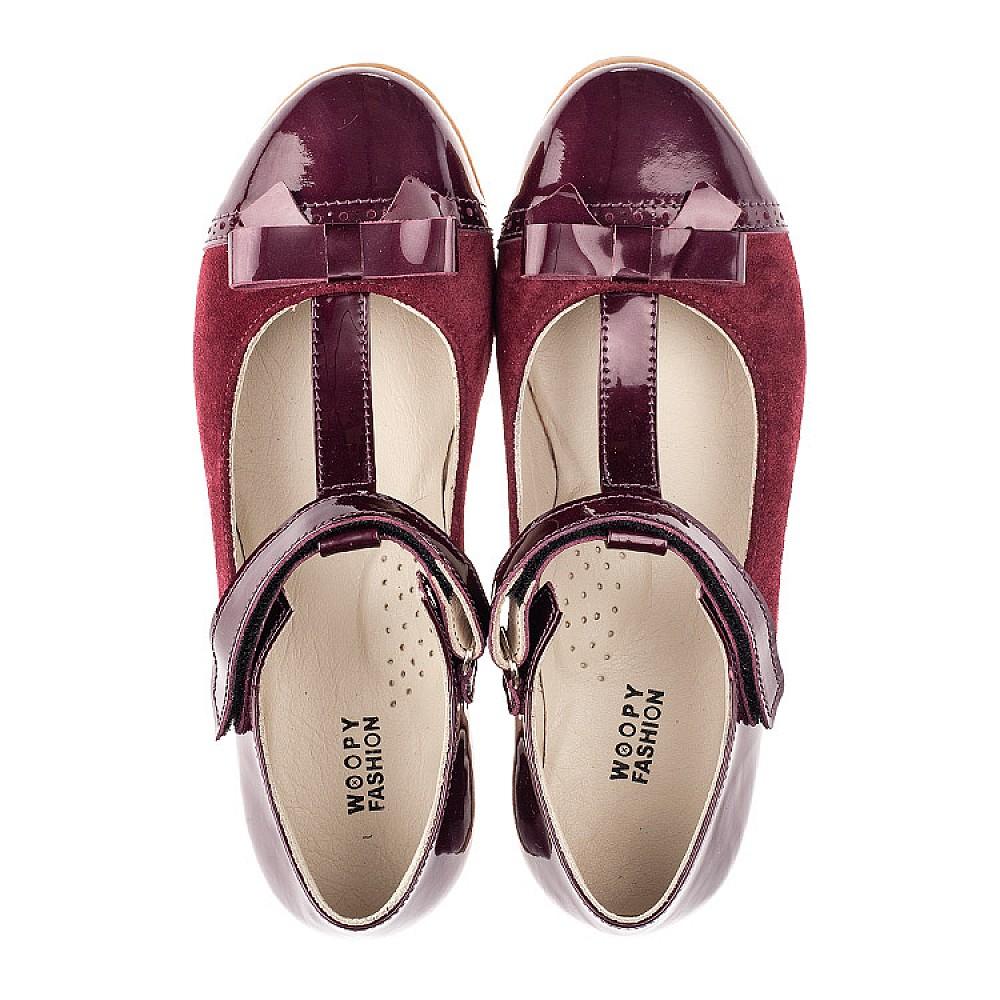 Детские туфли Woopy Orthopedic бордовые для девочек лаковая кожа, замша размер 31-38 (4240) Фото 5