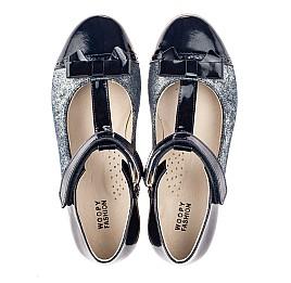 Детские туфли Woopy Orthopedic синие для девочек натуральная лаковая кожа и нубук размер 31-38 (4250) Фото 5