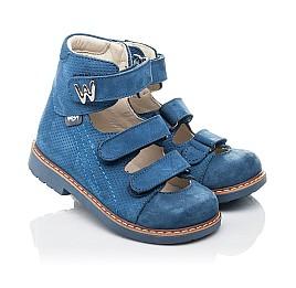 Детские ортопедические туфли Woopy Orthopedic голубые для мальчиков натуральный нубук размер 20-30 (4254) Фото 1