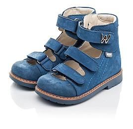Детские ортопедические туфли Woopy Orthopedic голубые для мальчиков натуральный нубук размер 20-30 (4254) Фото 3