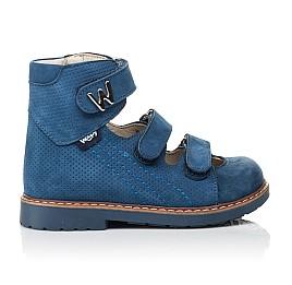 Детские ортопедические туфли Woopy Orthopedic голубые для мальчиков натуральный нубук размер 20-30 (4254) Фото 4