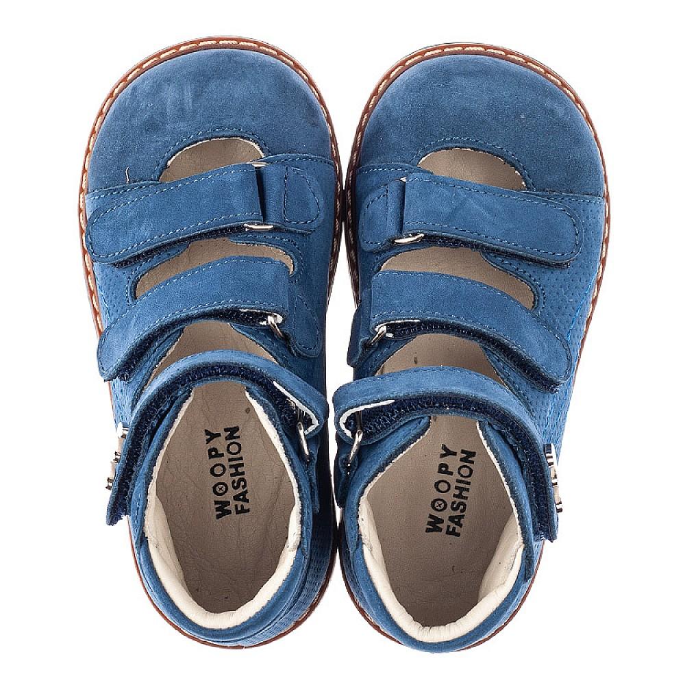 Детские ортопедические туфли Woopy Orthopedic голубые для мальчиков натуральный нубук размер 20-30 (4254) Фото 5
