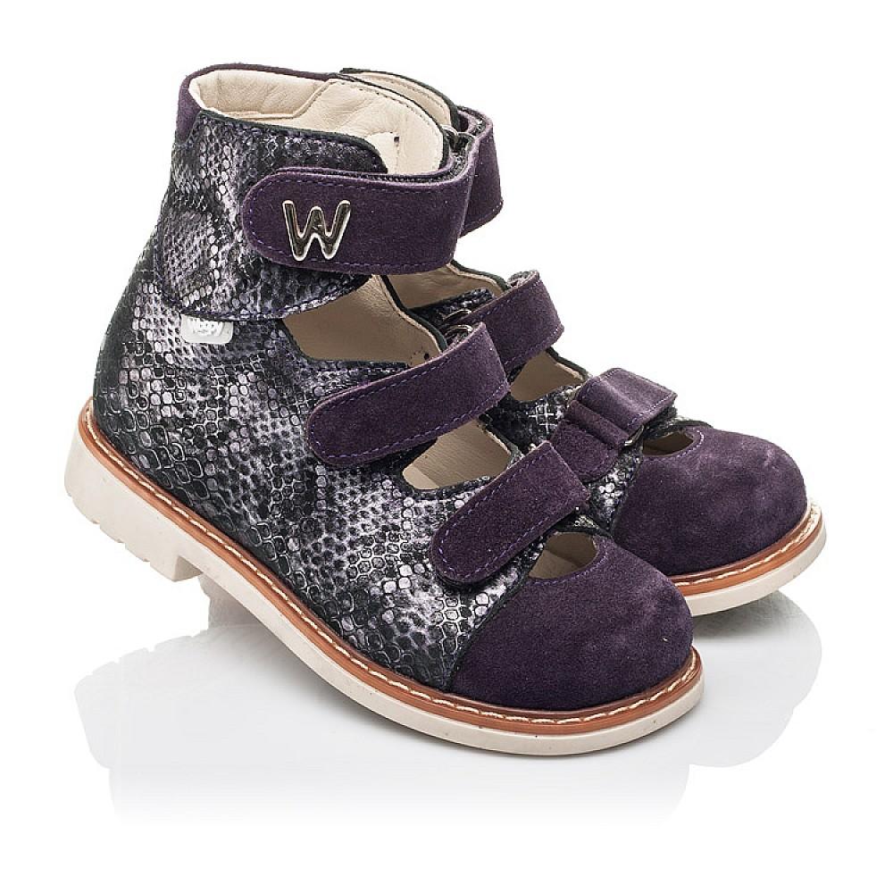 Детские ортопедические туфли (с высоким берцем) Woopy Orthopedic фиолетовые для девочек натуральный нубук размер 21-33 (4258) Фото 1