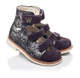 Детские ортопедические туфли (с высоким берцем) Woopy Orthopedic фиолетовые для девочек натуральный нубук размер 21-27 (4258) Фото 1