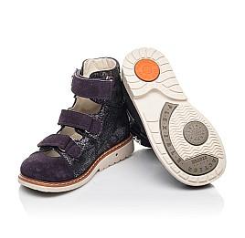 Детские ортопедические туфли (с высоким берцем) Woopy Orthopedic фиолетовые для девочек натуральный нубук размер 21-31 (4258) Фото 2