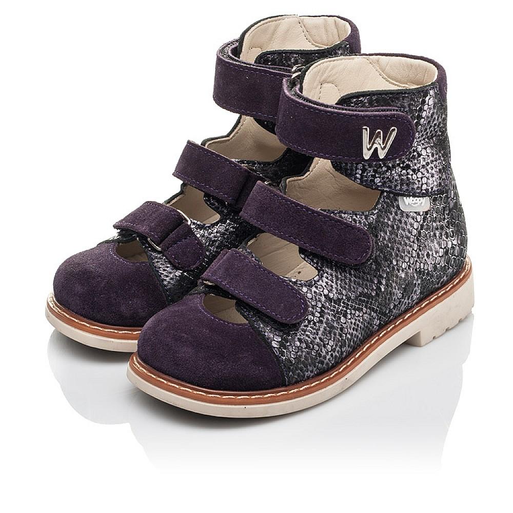 Детские ортопедические туфли (с высоким берцем) Woopy Orthopedic фиолетовые для девочек натуральный нубук размер 21-33 (4258) Фото 3