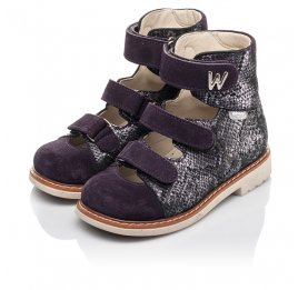 Детские ортопедические туфли (с высоким берцем) Woopy Orthopedic фиолетовые для девочек натуральный нубук размер 21-31 (4258) Фото 3