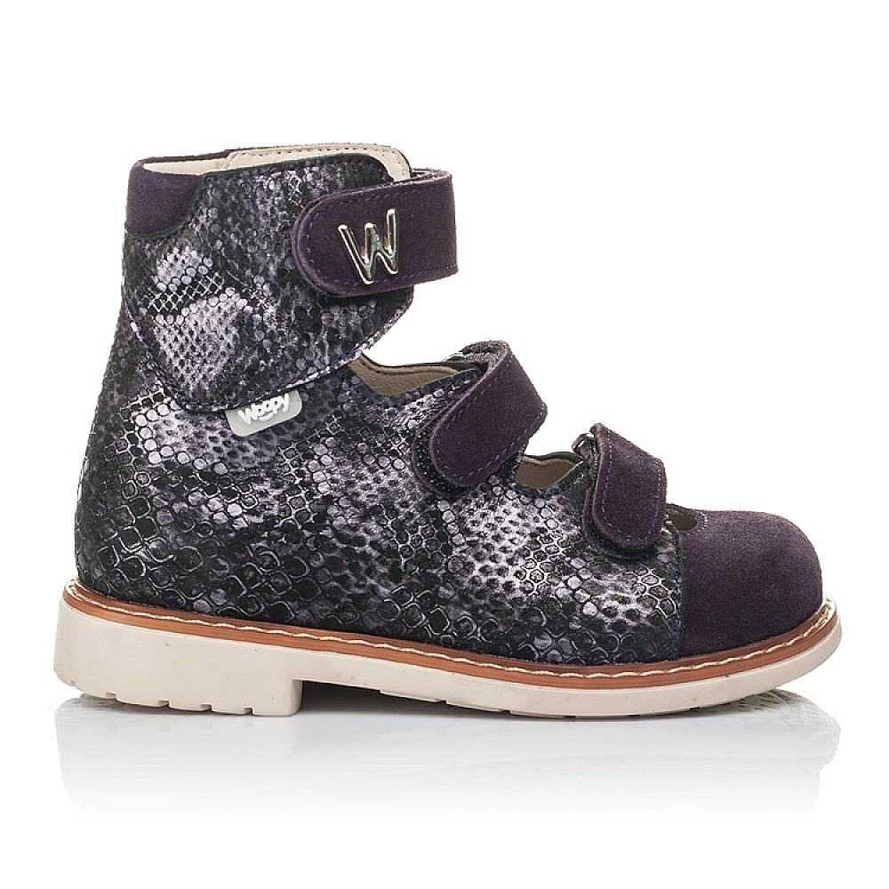 Детские ортопедические туфли (с высоким берцем) Woopy Orthopedic фиолетовые для девочек натуральный нубук размер 21-33 (4258) Фото 4