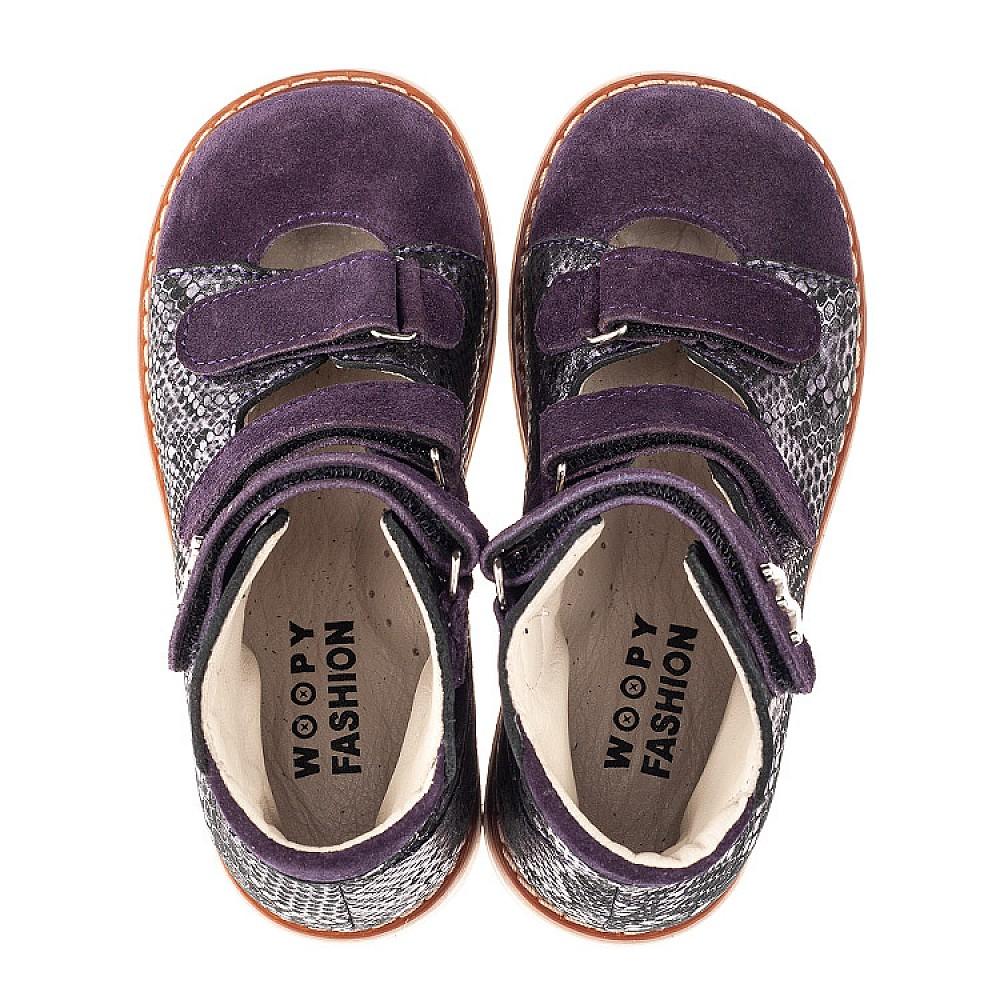 Детские ортопедические туфли (с высоким берцем) Woopy Orthopedic фиолетовые для девочек натуральный нубук размер 21-33 (4258) Фото 5