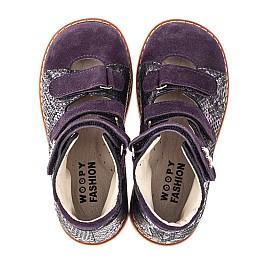 Детские ортопедические туфли (с высоким берцем) Woopy Orthopedic фиолетовые для девочек натуральный нубук размер 21-27 (4258) Фото 5