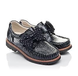 Детские туфлі Woopy Orthopedic темно-синие для девочек натуральная лаковая кожа размер 29-36 (4259) Фото 1