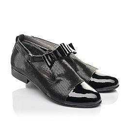 Детские туфли Woopy Orthopedic черные для девочек натуральные нубук и лаковая кожа размер 32-39 (4261) Фото 1