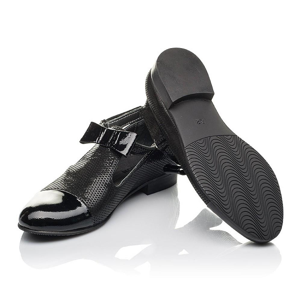 Детские туфли Woopy Orthopedic черные для девочек натуральные нубук и лаковая кожа размер 32-39 (4261) Фото 2