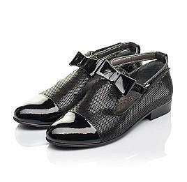 Детские туфли Woopy Orthopedic черные для девочек натуральные нубук и лаковая кожа размер 32-39 (4261) Фото 3