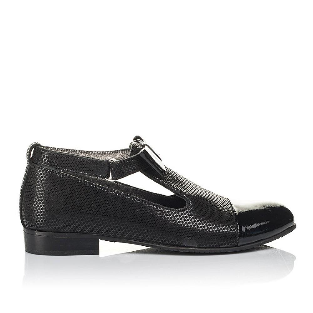 Детские туфли Woopy Orthopedic черные для девочек натуральные нубук и лаковая кожа размер 32-39 (4261) Фото 4