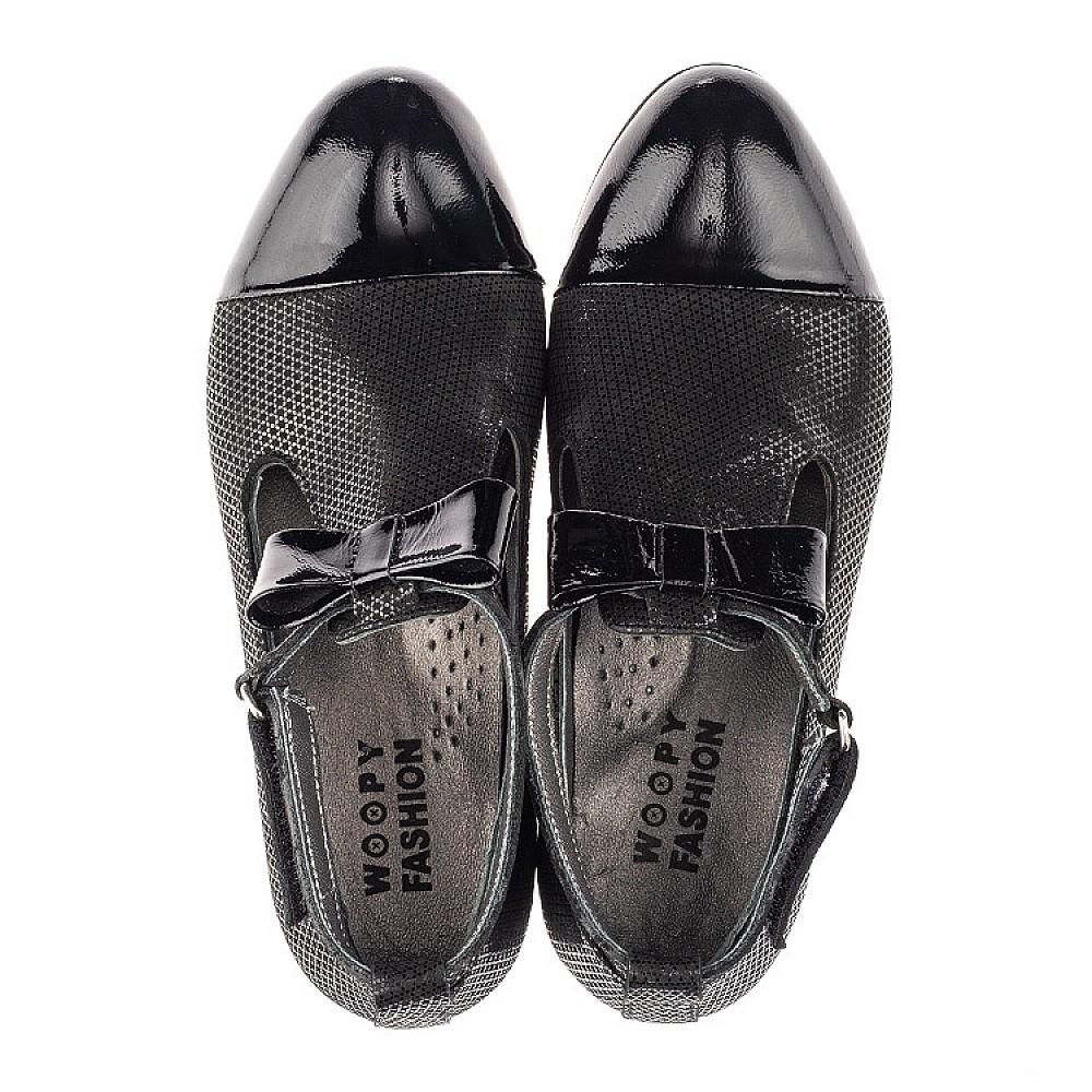 Детские туфли Woopy Orthopedic черные для девочек натуральные нубук и лаковая кожа размер 32-39 (4261) Фото 5