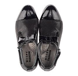 Детские туфлі Woopy Orthopedic черные для девочек натуральные нубук и лаковая кожа размер 32-39 (4261) Фото 5