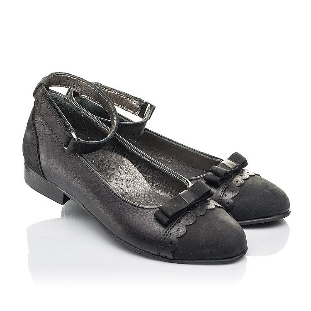 Детские туфли Woopy Orthopedic черные для девочек натуральная кожа и нубук размер 31-39 (4267) Фото 1