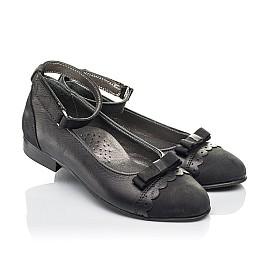Детские туфлі Woopy Orthopedic черные для девочек натуральная кожа и нубук размер 31-36 (4267) Фото 1