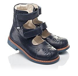 Детские ортопедические туфли (с высоким берцем) Woopy Orthopedic синие для девочек натуральный нубук размер 22-34 (4272) Фото 1