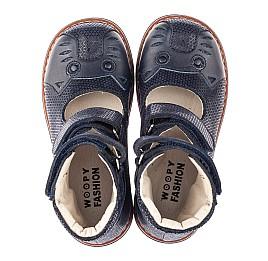 Детские ортопедические туфли (с высоким берцем) Woopy Orthopedic синие для девочек натуральный нубук размер 22-34 (4272) Фото 5