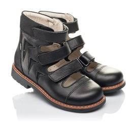 Детские ортопедические туфли (с высоким берцем) Woopy Orthopedic черные для мальчиков натуральная кожа размер 30-36 (4276) Фото 1