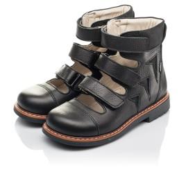 Детские ортопедичні туфлі (з високим берцями) Woopy Orthopedic черные для мальчиков натуральная кожа размер 30-36 (4276) Фото 2